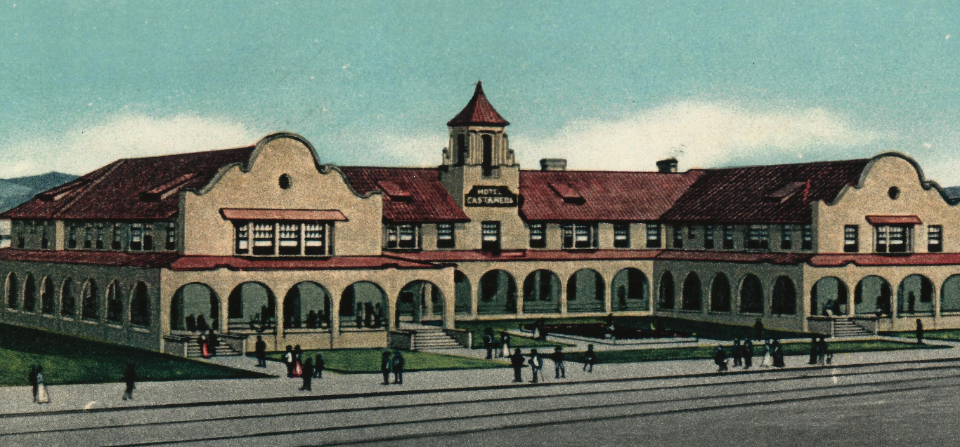 Vintage drawing of the Castaneda Hotel in Las Vegas, NM